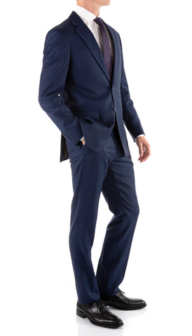 Mason Navy Men's Premium 2pc Premium Wool Slim Fit Suit