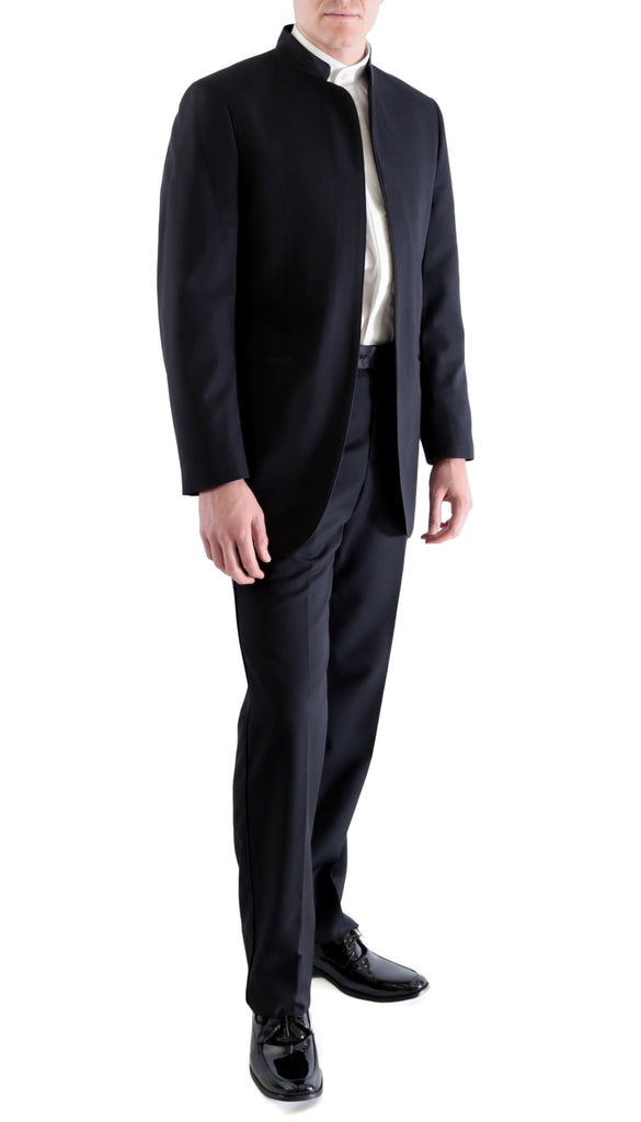 Ferrecci MIRAGE Mandarin Collar 2pc Tuxedo - Black - FHYINC best men