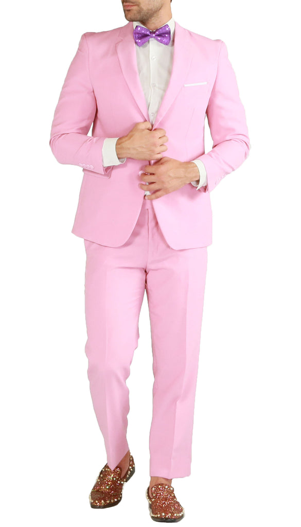 PL1969 Mens Pink Slim Fit 2pc Suit - FHYINC best men