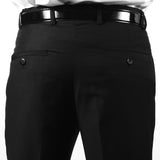 Premium Mens MP101 Black Regular Fit Dress Pants - FHYINC