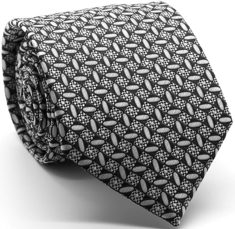 Mens Dads Classic Black Geometric Circle Pattern Business Casual Necktie & Hanky Set OO-1