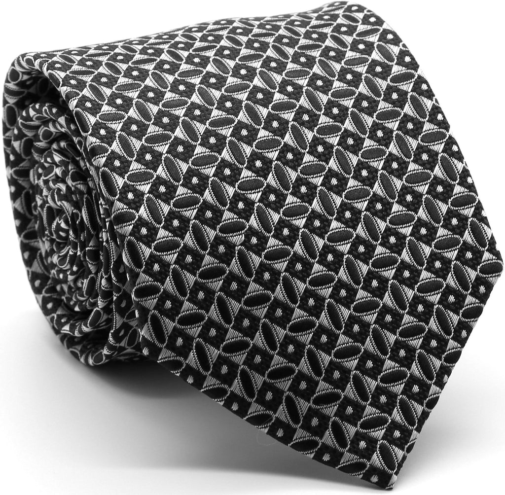 Mens Dads Classic Black Geometric Circle Pattern Business Casual Necktie & Hanky Set OO-3 - FHYINC best men