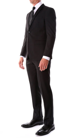Oslo Black Slim Fit Notch Lapel 2 Piece Suit