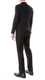 Oslo Black Slim Fit Notch Lapel 2 Piece Suit - FHYINC best men's suits, tuxedos, formal men's wear wholesale