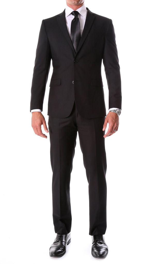 Oslo Black Slim Fit Notch Lapel 2 Piece Suit - FHYINC best men
