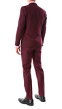 Oslo Burgundy Slim Fit Notch Lapel 2 Piece Suit - FHYINC
