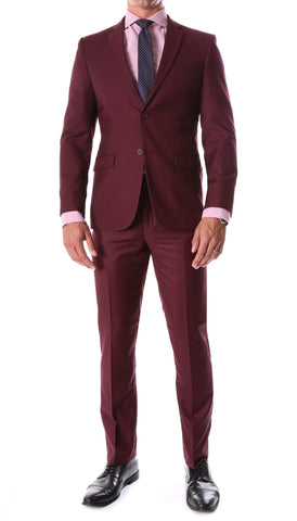 Oslo Burgundy Slim Fit Notch Lapel 2 Piece Suit