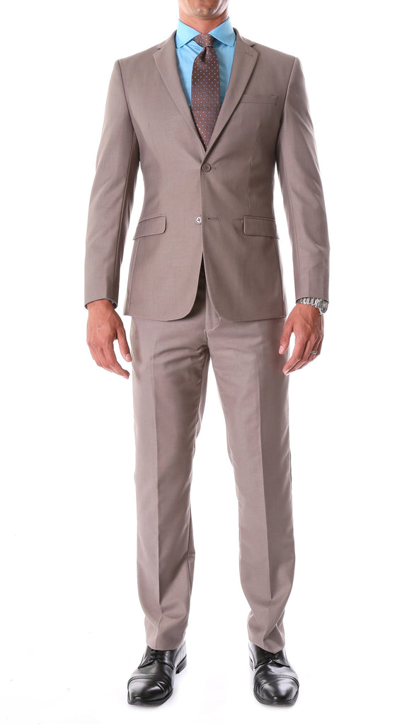 Oslo Taupe Slim Fit Notch Lapel 2 Piece Suit - FHYINC