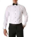 Ferrecci Men's Paris White Regular Fit Lay Down Collar Pleated Tuxedo Shirt - FHYINC best men's suits, tuxedos, formal men's wear wholesale