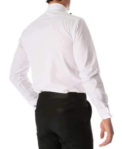 Ferrecci Men's Paris White Regular Fit Lay Down Collar Pleated Tuxedo Shirt