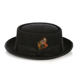 Black Wool Pork Pie Hat - FHYINC best men's suits, tuxedos, formal men's wear wholesale
