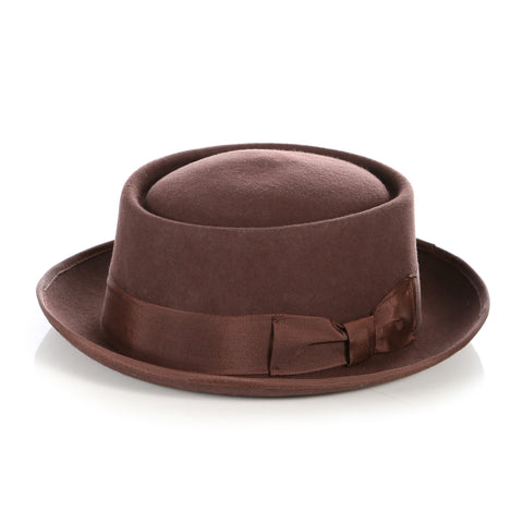 Brown Wool Pork Pie Hat