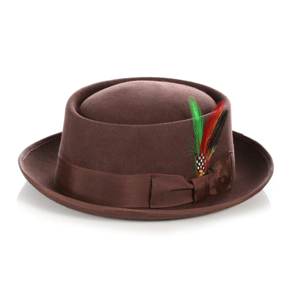 Brown Wool Pork Pie Hat - FHYINC best men
