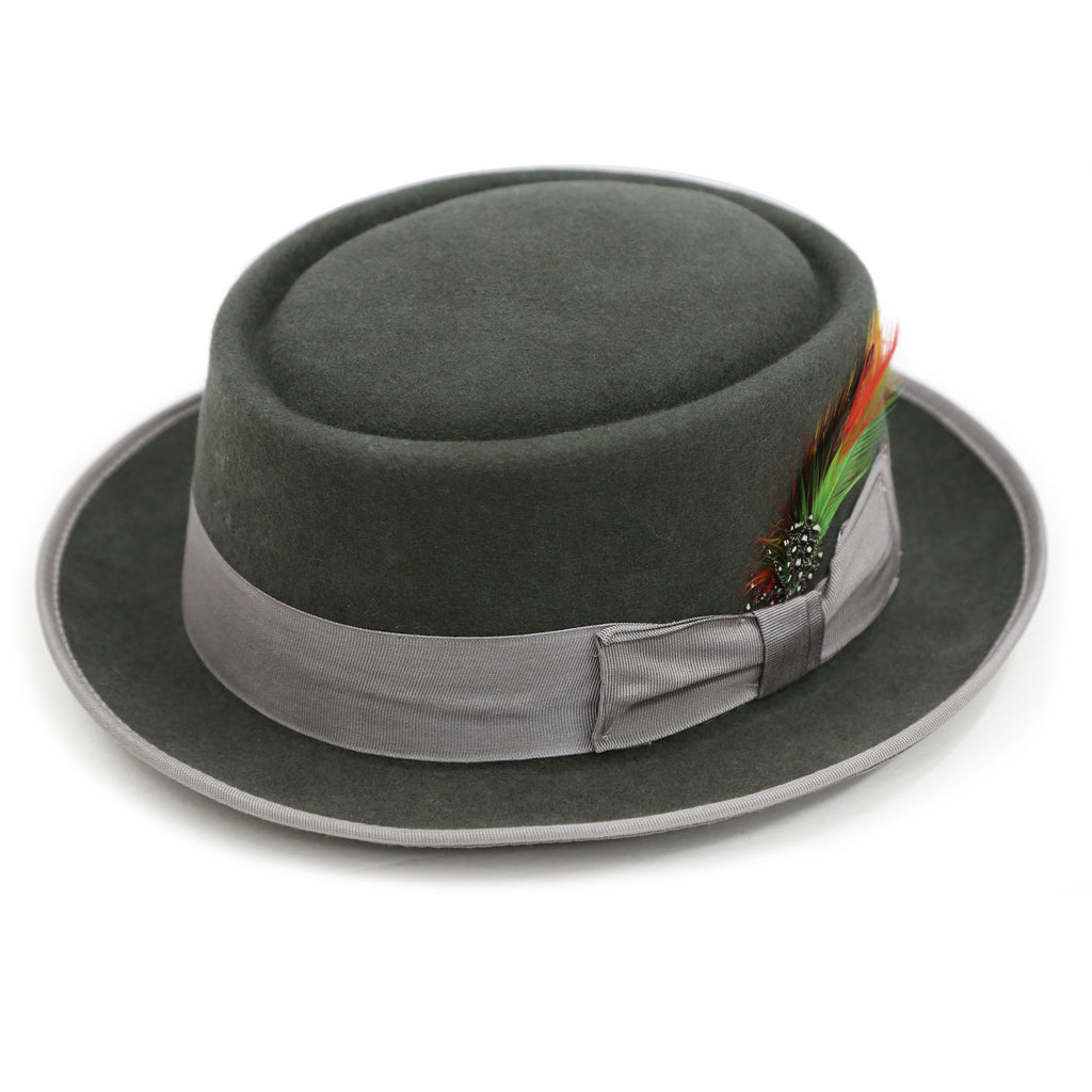 Charcoal Wool Pork Pie Hat - FHYINC best men