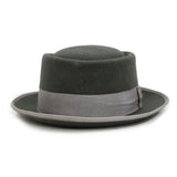 Charcoal Wool Pork Pie Hat - FHYINC best men's suits, tuxedos, formal men's wear wholesale