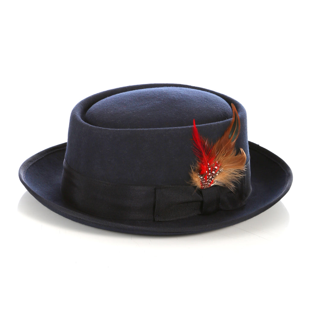 Navy Pork Pie Hat - Wool - FHYINC best men