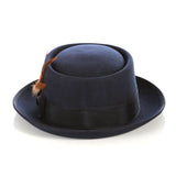 Navy Pork Pie Hat - 100% Wool - Ferrecci