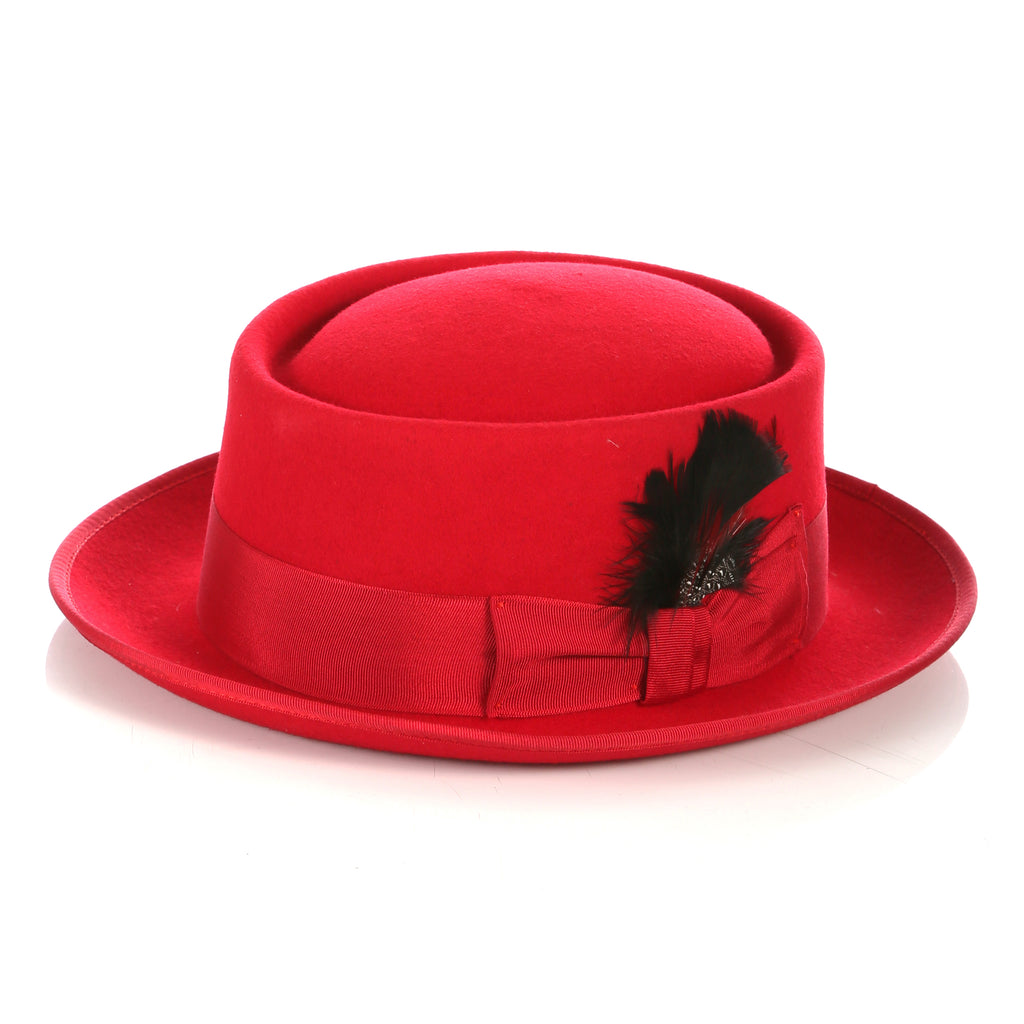 Red Wool Pork Pie Hat - FHYINC best men