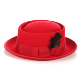 Red Wool Pork Pie Hat - FHYINC best men's suits, tuxedos, formal men's wear wholesale