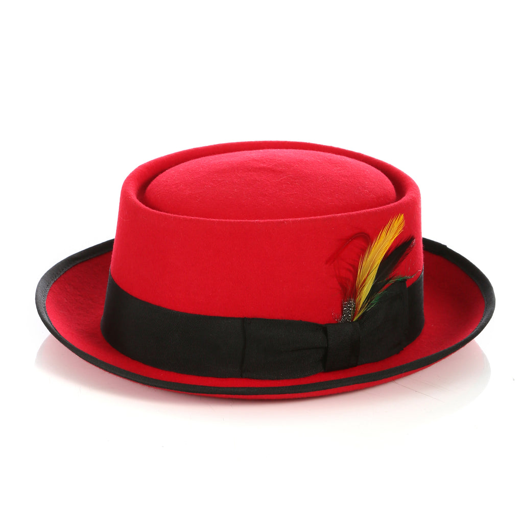 Red/Black Wool Pork Pie Hat - FHYINC best men