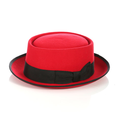 Red/Black Wool Pork Pie Hat