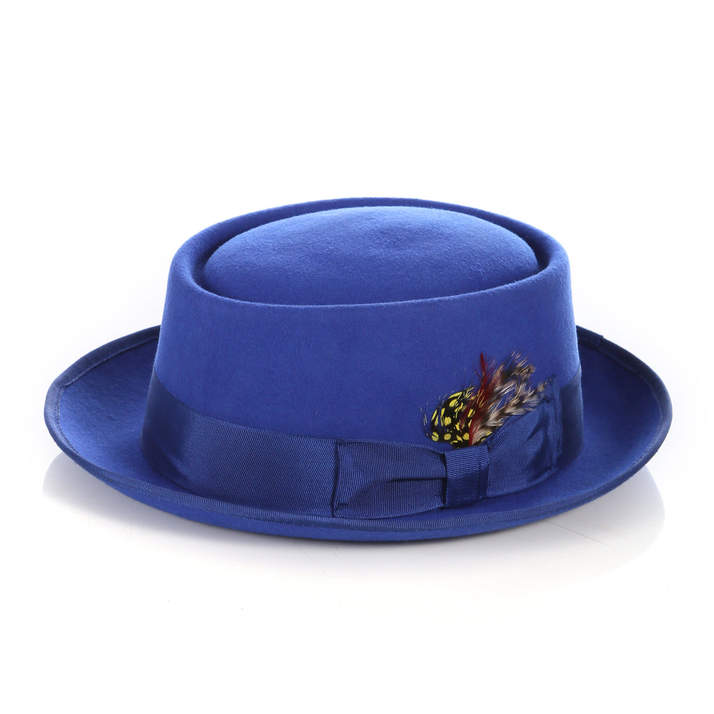 Royal Blue Wool Pork Pie Hat - FHYINC best men