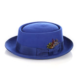 Royal Blue Wool Pork Pie Hat - FHYINC best men's suits, tuxedos, formal men's wear wholesale