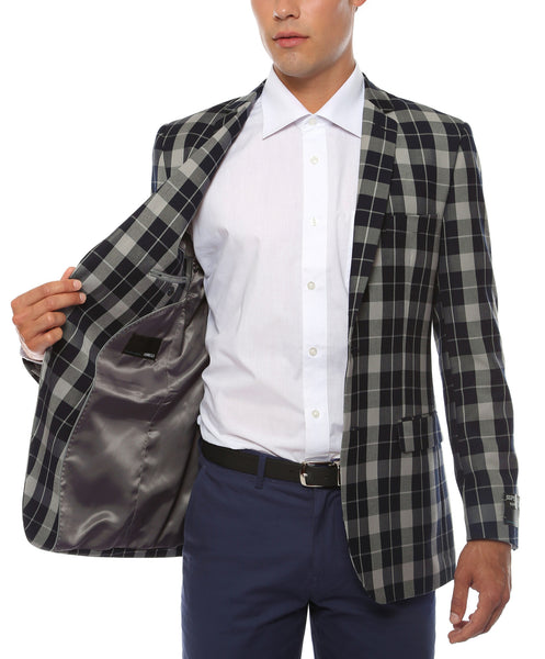 The Preston Plaid Check Slim Fit Mens Blazer - FHYINC best men's suits, tuxedos, formal men's wear wholesale