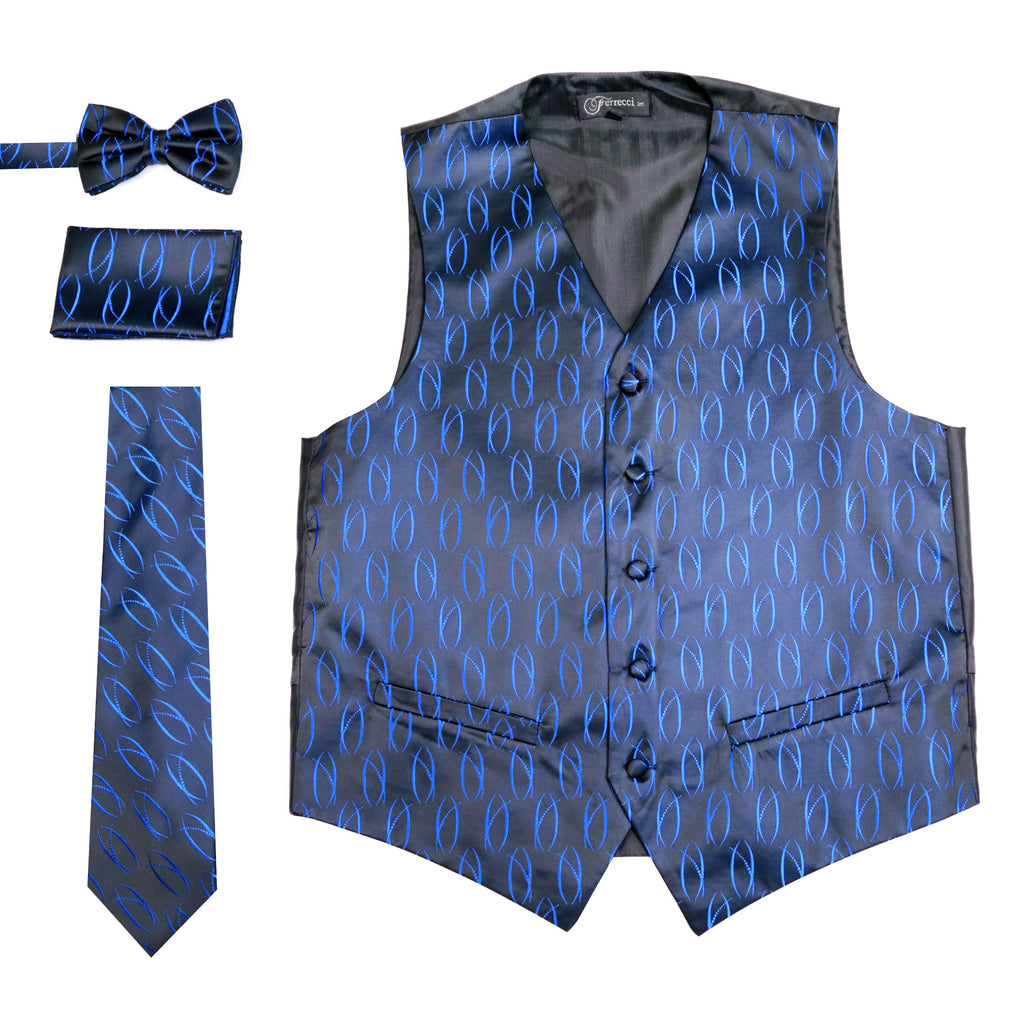 Ferrecci Mens PV100 - Black/Blue Vest Set - FHYINC best men's suits, tuxedos, formal men's wear wholesale