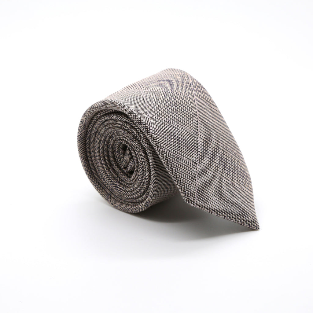 Slim Beige and Charcoal With Hint Of Lavender Plaid Neckties & Handkerchief - FHYINC best men