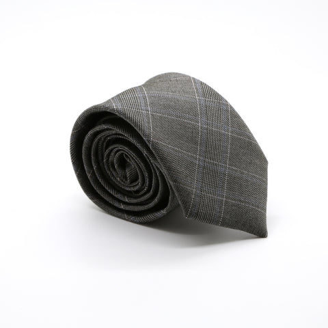 Slim Beige and Charcoal With Hint Of Lavender Plaid Neckties & Handkerchief