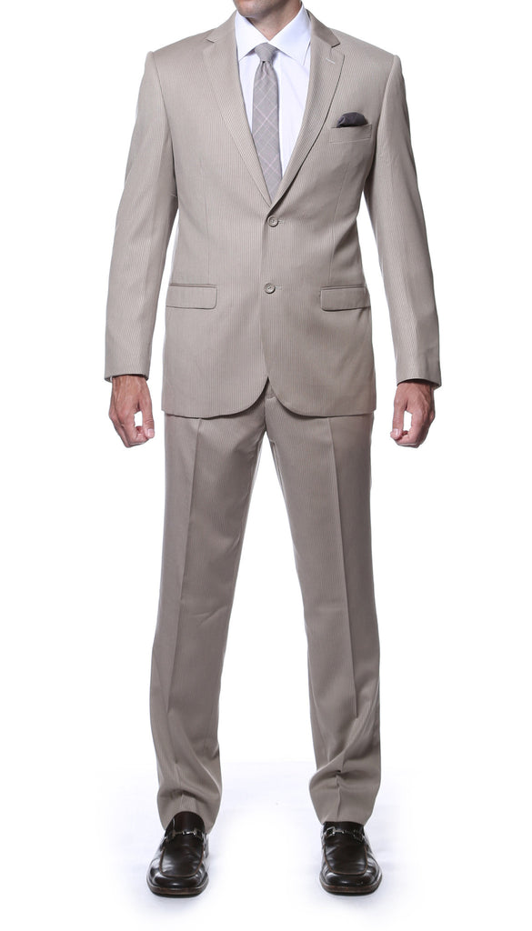 Ferrecci Slim Fit Tan Striped Tone on Tone 2 pc suit