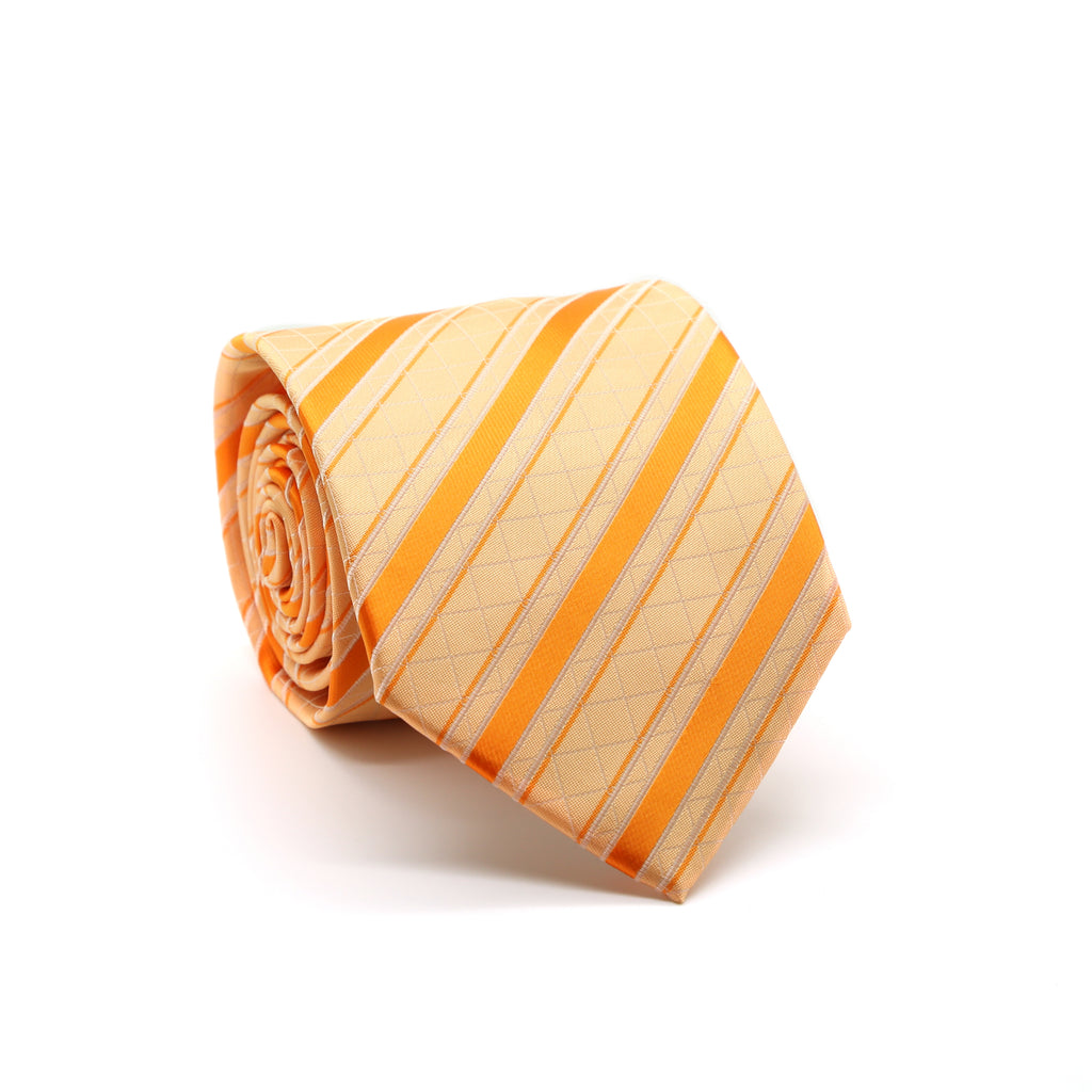 Ferrecci Mens Orange Striped Pattern Necktie with Handkerchief Set - FHYINC best men