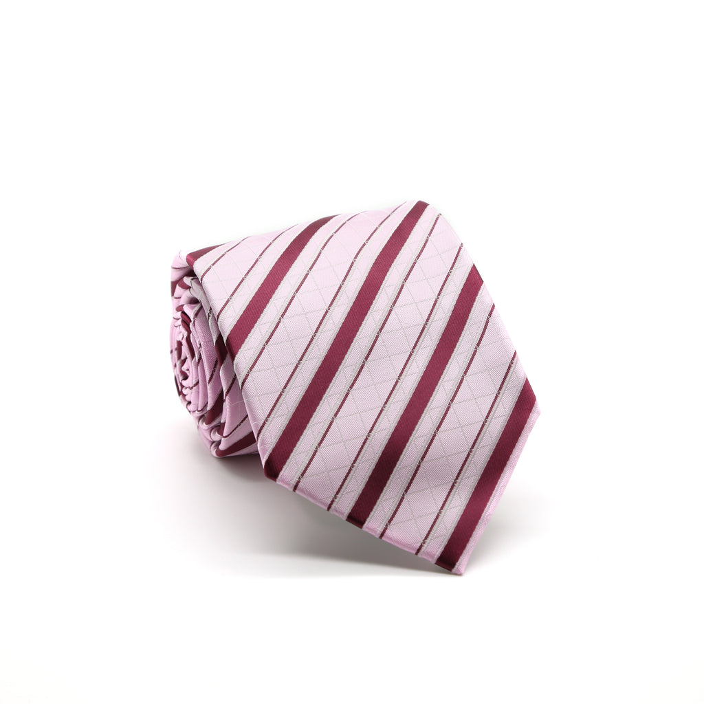 Ferrecci Mens Pink/Fuchsia Striped Pattern Necktie with Handkerchief Set - FHYINC best men