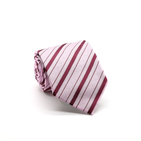 Ferrecci Mens Pink/Fuchsia Striped Pattern Necktie with Handkerchief Set