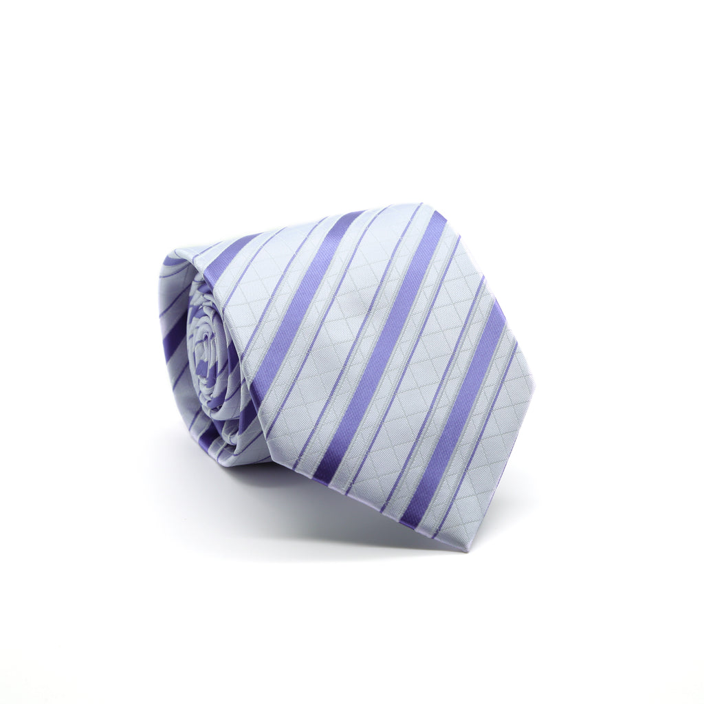 Ferrecci Mens Lavender/Purple Striped Pattern Necktie with Handkerchief Set - FHYINC best men