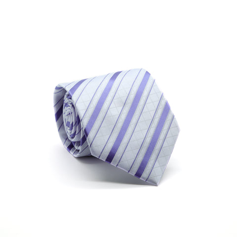 Ferrecci Mens Lavender/Purple Striped Pattern Necktie with Handkerchief Set