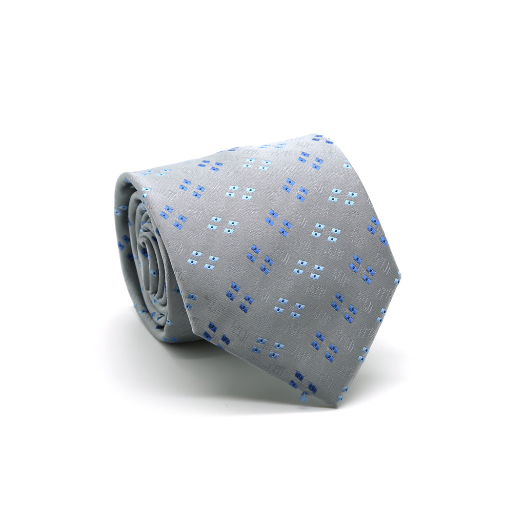 Ferrecci Mens Grey/Blue Geo Pattern Necktie with Handkerchief Set - FHYINC best men