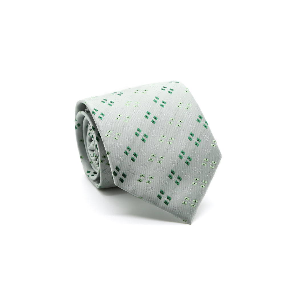 Ferrecci Mens Grey/Green Geo Pattern Necktie with Handkerchief Set - FHYINC best men