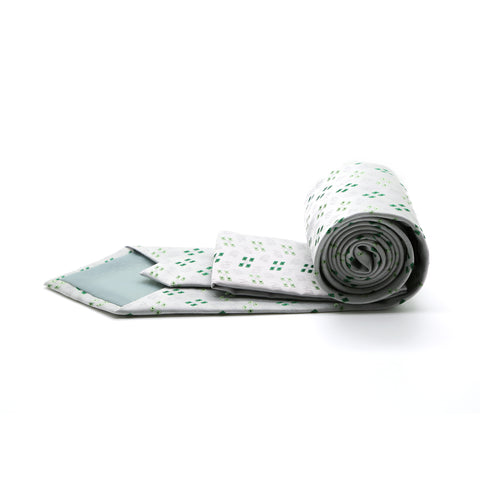 Ferrecci Mens Grey/Green Geo Pattern Necktie with Handkerchief Set