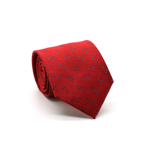 Ferrecci Mens Red Geo Pattern Necktie with Handkerchief Set