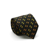 Ferrecci Mens Black/Yellow/Orange Geo Pattern Necktie with Handkerchief Set - FHYINC best men's suits, tuxedos, formal men's wear wholesale