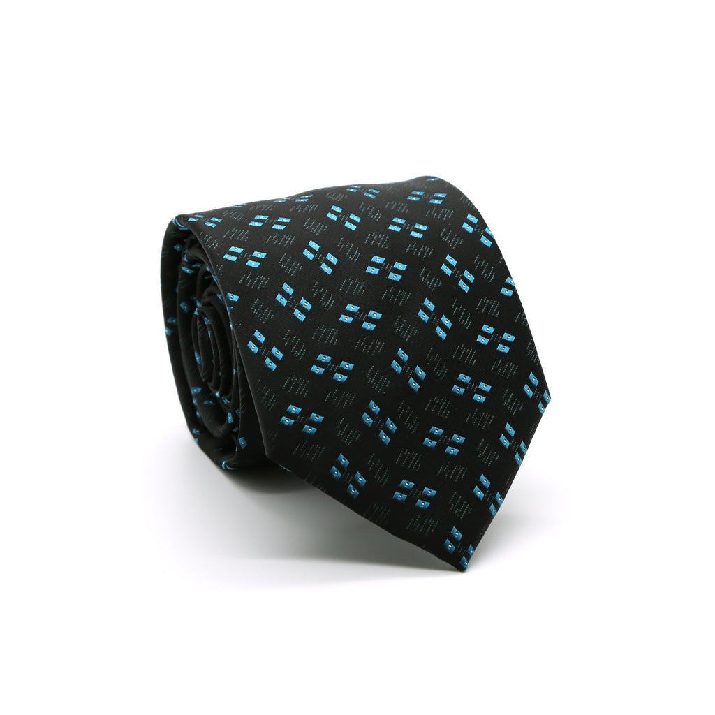 Ferrecci Mens Black/Turquoise Geo Pattern Necktie with Handkerchief Set - FHYINC best men