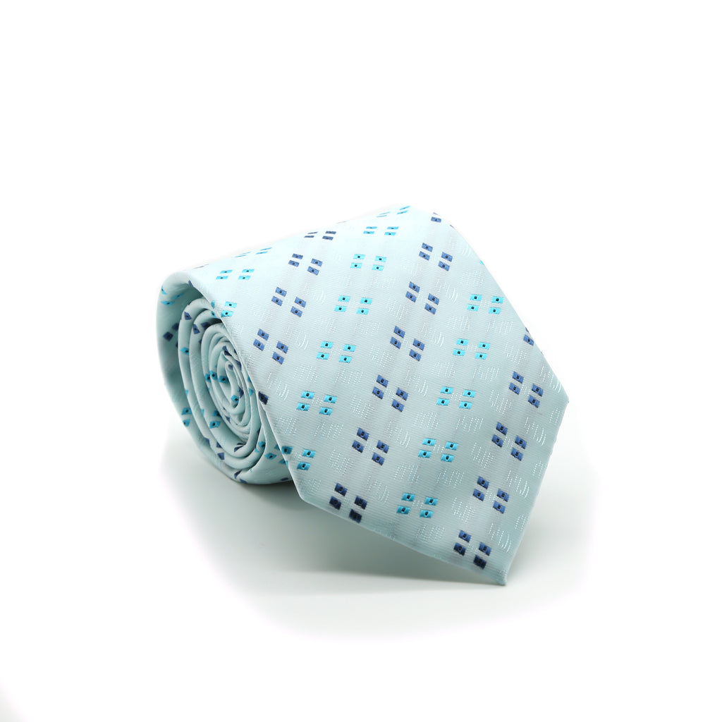 Ferrecci Mens Lite Blue Geo Pattern Necktie with Handkerchief Set - FHYINC best men