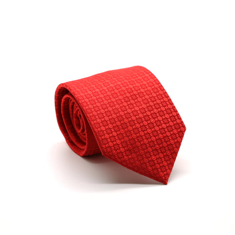 Ferrecci Mens Red Geometric Necktie with Handkerchief Set