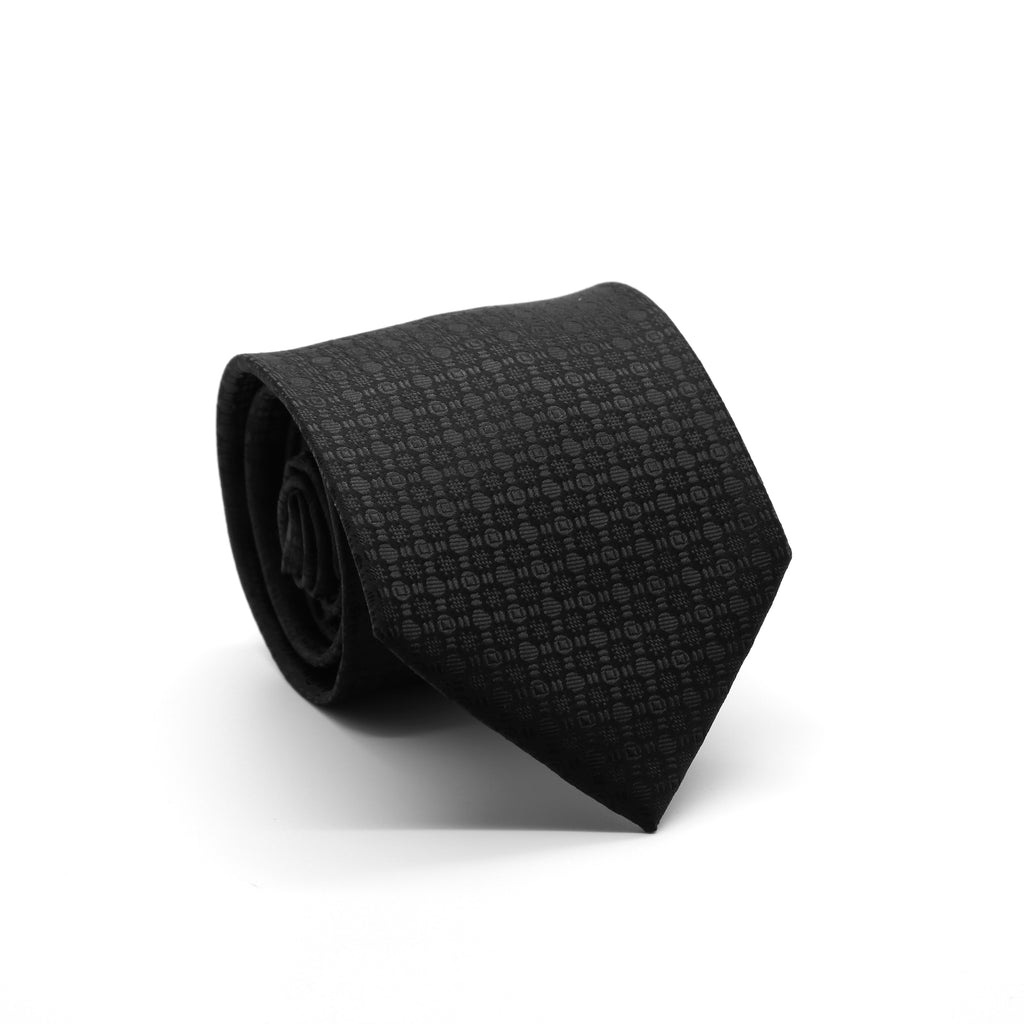 Ferrecci Mens Black/Black Geometric Necktie with Handkerchief Set - FHYINC best men