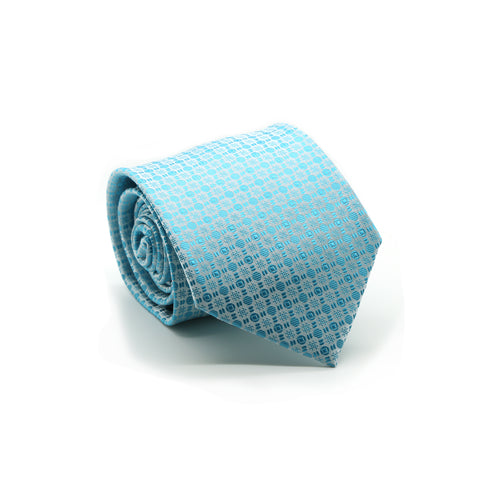 Ferrecci Mens Turquoise Geometric Necktie with Handkerchief Set