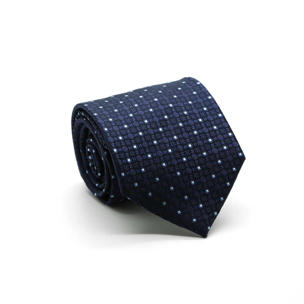 Ferrecci Mens Navy Geometric Necktie with Handkerchief Set - FHYINC best men