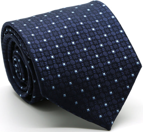 Mens Dads Classic Navy Geometric Pattern Business Casual Necktie & Hanky Set R-4