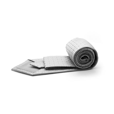Ferrecci Mens Grey Geometric Necktie with Handkerchief Set
